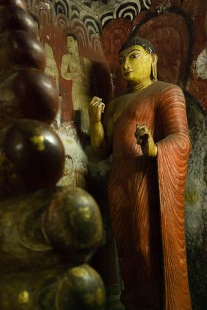 sri lanka temple: Statue of monk Ananda, Dambulla rock Temple, Sri Lanka Stock Photo