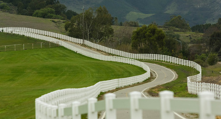 picket fence: Country road with white picket fence Stock Photo