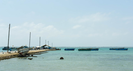 samll: Samll harbour with fishing boats and ferries in Sri Lanka