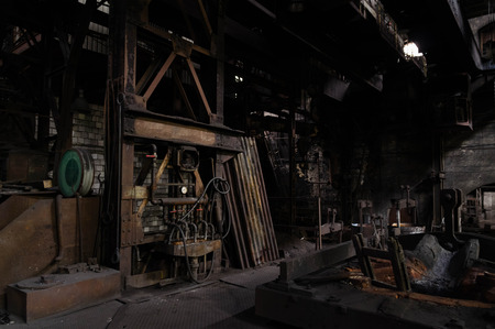 furnace: Cold furnace of abandoned foundry