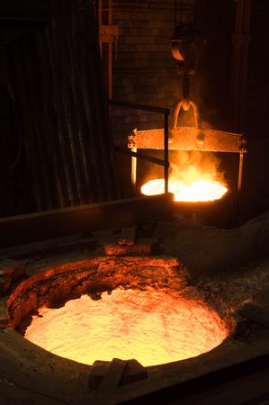 liquid metal: Closeup of hot liquid metal in a furnace