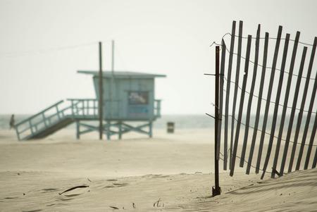 guard house: Coast Guard house on hazy Venice Beach