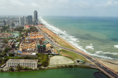 green: Aerial view of Colombo and Galle Face Green Stock Photo
