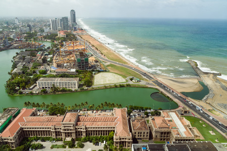 galle: Aerial view of Colombo and Galle Face Green Stock Photo