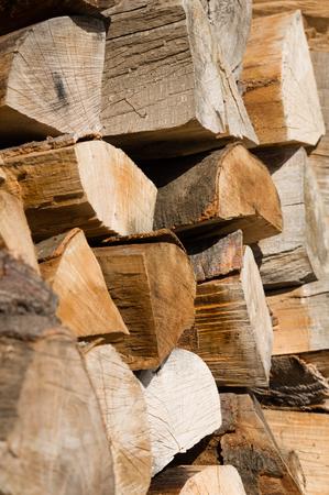 stockpile: Neatly arranged stockpile of wood for winter