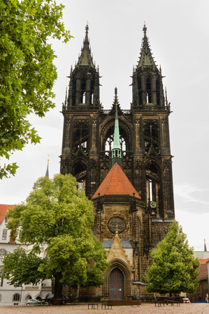 Meissen Cathedral, western facade with Prince's Chapel Stock fotó