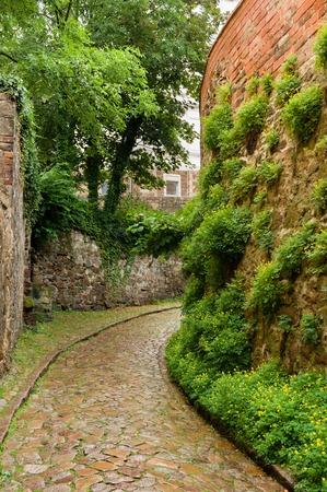Historical cobble stone laid narrow street in Meissen, Germany Banco de Imagens