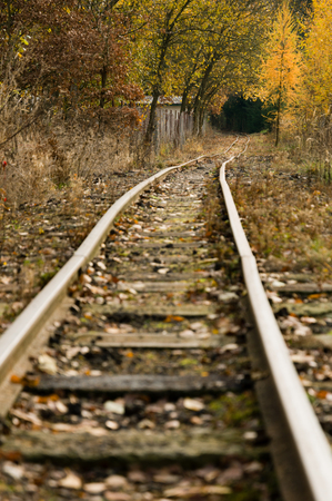 Narrow and abandoned rail tracks in a rural area in autumn Imagens