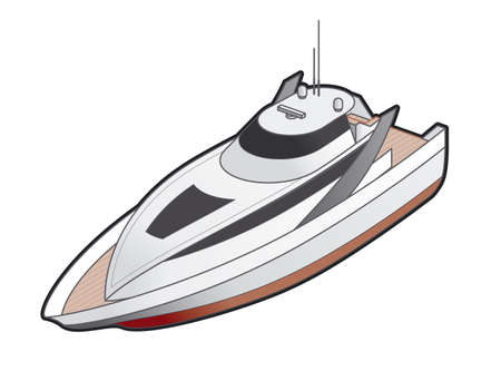3d boat: Motor Yacht Icon. Design Elements 41j, its a high resolution image with CLIPPING PATH for easy remove background if you wish. Stock Photo