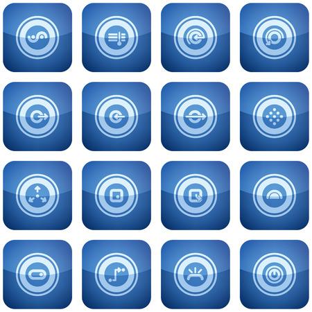Cobalt Square 2D Icons Set: Abstract Ilustração