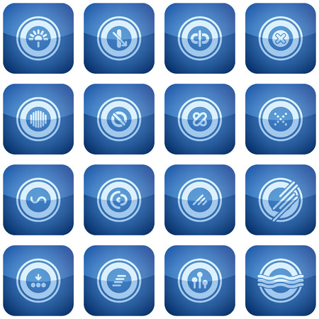 Cobalt Square 2D Icons Set: Abstract Illustration