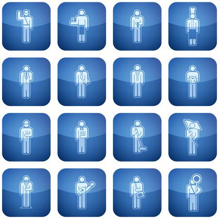 Cobalt Square 2D Icons Set: Occupation