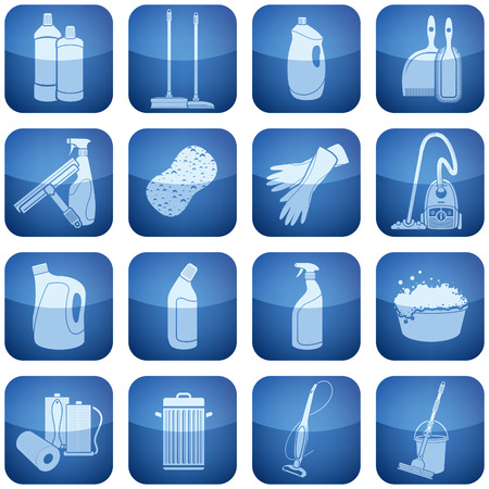 Cleaning theme icons set covering stuff from brush and vacuum cleaner to gloves and paper towel.