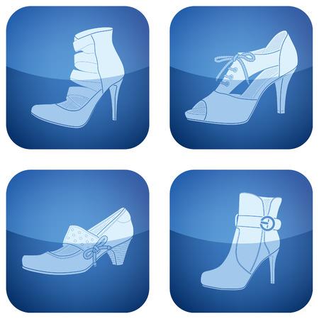 High-Helded Schuhe Thema Symbole legen Sie deckt alle Art elegante Frau Schuhe.Vektor-Symbole-Satz als eine Adobe Illustrator-Version gespeichert Datei 8 EPS-Format-einfach zu bearbeiten, ändern Sie die Größe oder Einfärben.Dateien werden für Ausdrucke sicher und leicht zu con in CMYK-Farbraum erstellt.