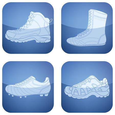 Cobalt Square 2D Icons Set: Woman's Shoes