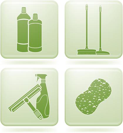 Set di Icone 2D Olivina Square: pulizia