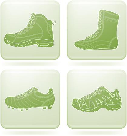 Olivine Square 2D Icons Set: Sport Shoes