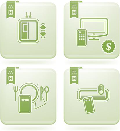 Olivine 2D Squared Icons Set: Hotel Illustration