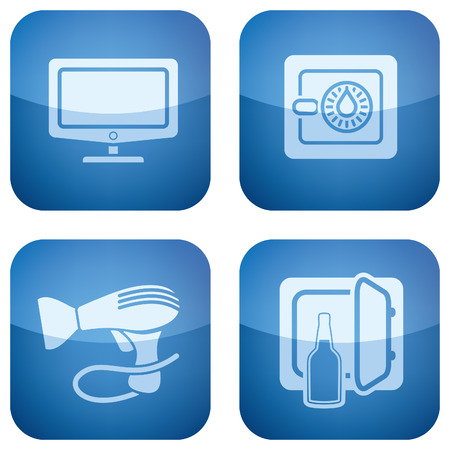 Cobalt 2D Squared Icons Set: Hotel Stock Vector - 6865816