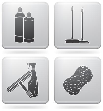 Set di icone tema pulizia
