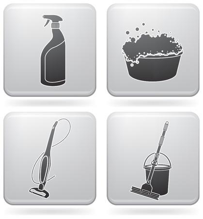 Reinigungsset für Thema-Ikonen  Vektorgrafik