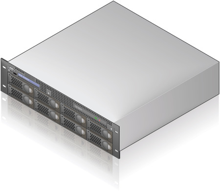 Icono 3D isométrico de unidad de servidor único (parte del conjunto de iconos de Hardware de computadora)