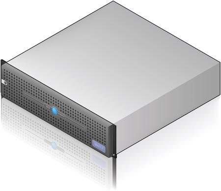 Icono de bajo perfil único servidor unidad isométrica 3D (parte del conjunto de iconos de Hardware de equipo) Ilustración de vector