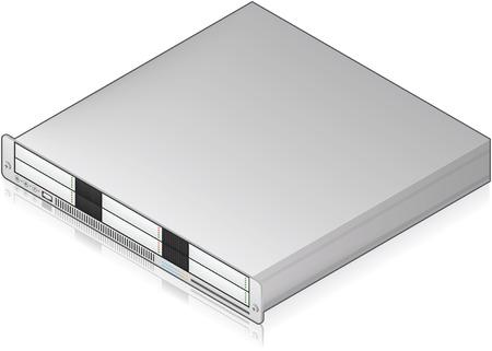 Icono de 3D de bajo perfil único servidor unidad isométrica plata (parte del conjunto de iconos de Hardware de computadora) Ilustración de vector