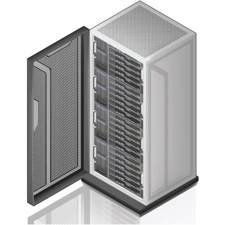 Icono de servidor Rack isométrica 3D de red