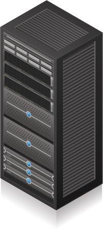 Single Server Rack Isometric 3D Icon Векторная Иллюстрация