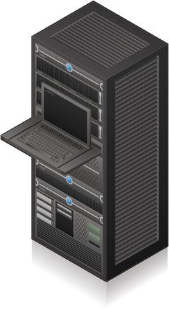 Single Server Rack Isometric 3D Icon