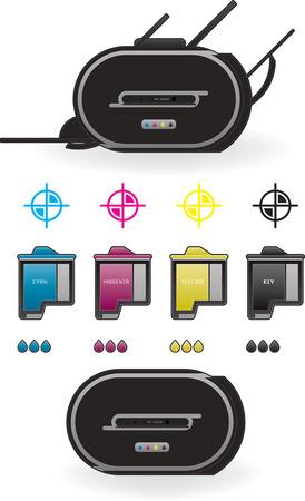 Medium Home InkJet Printer Side View Vetores