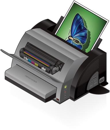 3D Isometric Color Photo LaserJet Printer Vetores