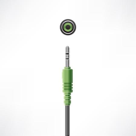 Headphones Mini-jack plug and socket Stock Vector - 10065690