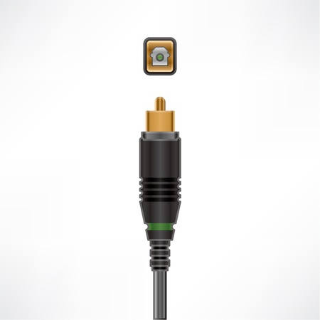 Optical In Audio Cable plug & socket Illustration