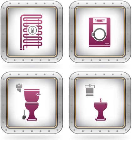 Bathroom theme icons set