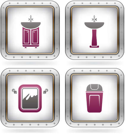 Bathroom theme icons set Vector
