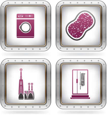 Bathroom theme icons set Stock Vector - 10710281