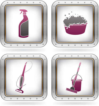 mop: Cleaning theme icons set Illustration