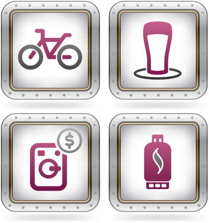 gas laundry: Various camping icons