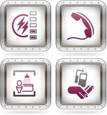 en suite: Various camping icons