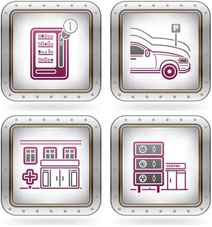 distribution automatique: Ic�nes de plusieurs hotels Illustration