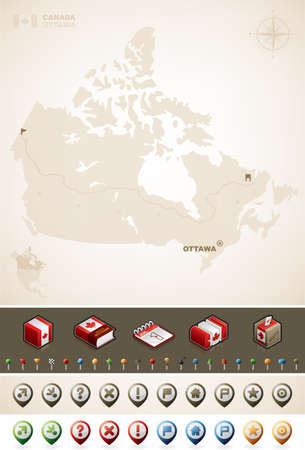Canada Map and North America Maps plus cartography symbols set (part of the World Maps Set) Vector