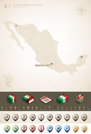 Mexican and North America Maps plus cartography symbols set (part of the World Maps Set)  Vector