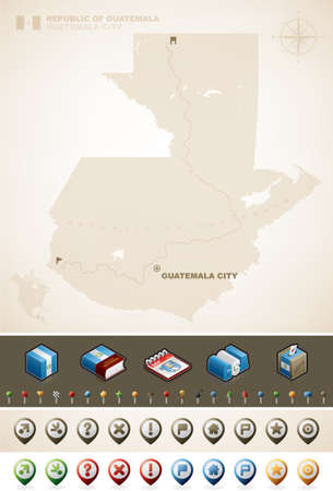 Guatemala and North America Maps plus cartography symbols set (part of the World Maps Set) Vector