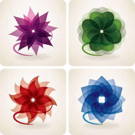 Iconos abstractos de flores