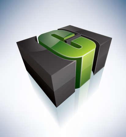 3D C green letter Stock Vector - 11125621