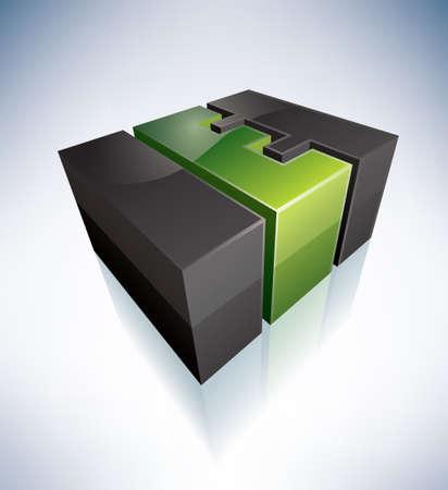 letras negras: 3D E carta verde logo Vectores
