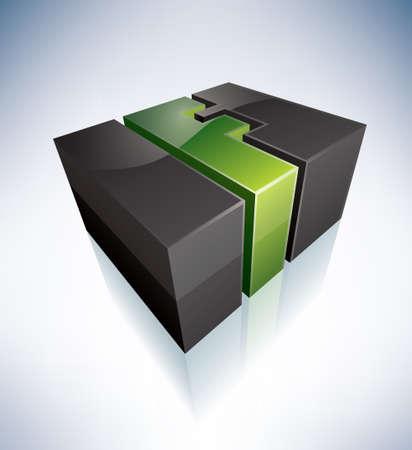 3D F green logo letter