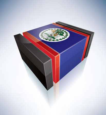 belize: 3D Flag of Belize Illustration